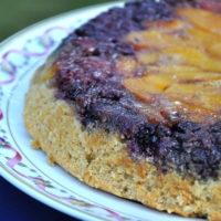 Upside Down Berry Peach Skillet Cake
