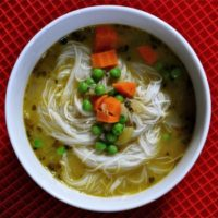 Faux Chicken Rice Noodle Soup