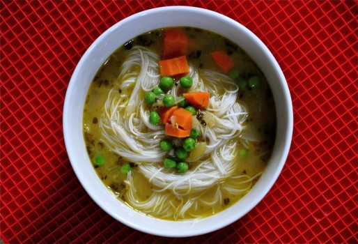 Faux Chicken Rice-Noodle Soup