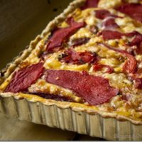 Roasted Red Pepper and Goat Cheese Tart