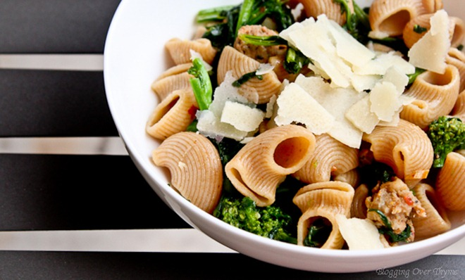 Pasta with Rapini and Hot Italian Sausage - A Beautiful Plate