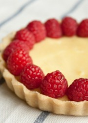meyer lemon tart with raspberry