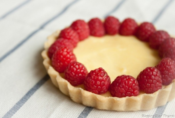 meyer lemon tart with raspberry