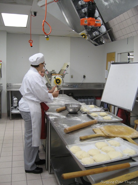 culinary student making pizza dough