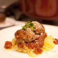 Spaghetti Squash with Homemade Tomato Sauce & Meatballs