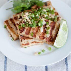 grilled asian tofu bowl