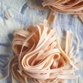 Homemade Red Pasta. Simple pasta dough tinted with tomato paste!