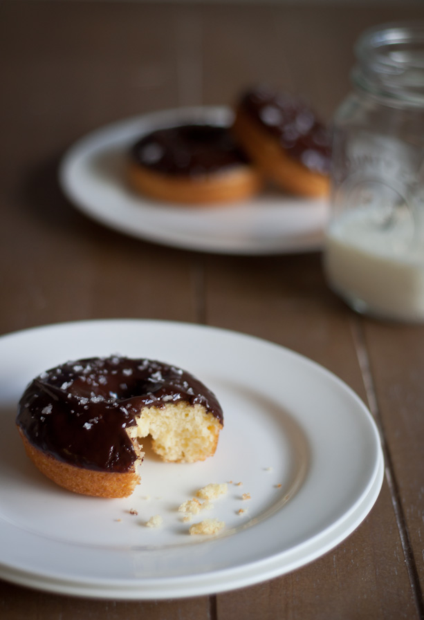 olive oil doughnuts with chocolate glaze