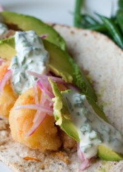 Baco Mercat's Fried Shrimp Flatbreads with Spicy Cardamom Sauce >> Blogging Over Thyme