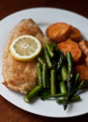 Pan-Fried Flounder with Roasted Sweet Potatoe and Sauteed Asparagus >> Blogging Over Thyme