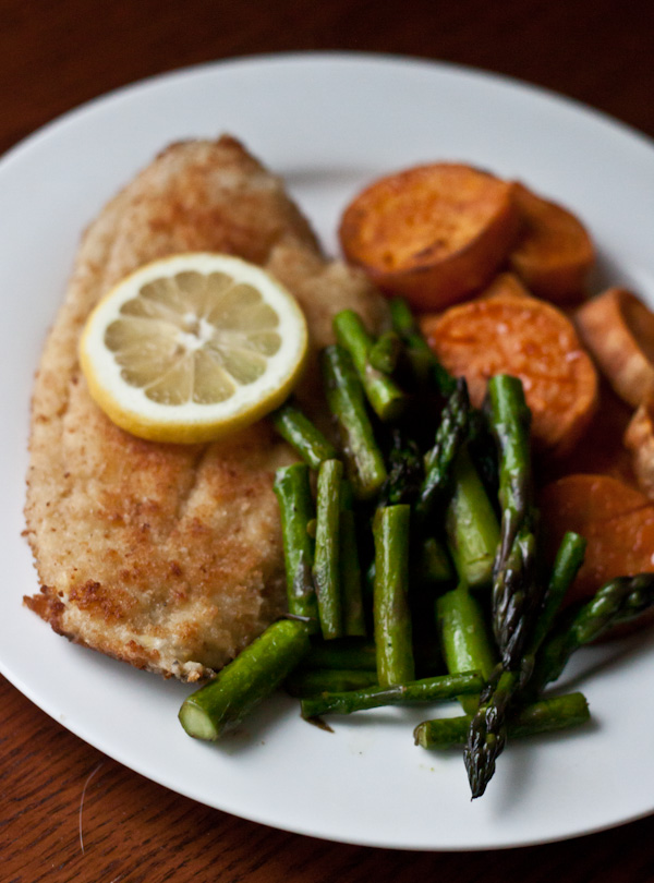 Fried Flounder with Roasted Sweet Potatoe and Sauteed Asparagus >> Blogging Over Thyme