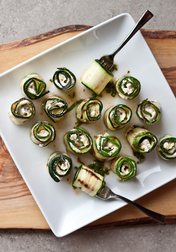 Zucchini Bites with Harissa, Goat Cheese, Lime & Mint >> Blogging O...