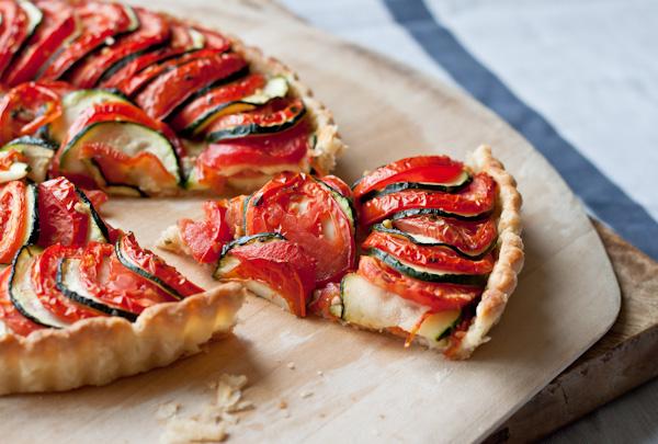 Sliced Tomato Zucchini Tart