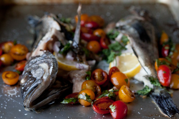 Baked Sea Bass with Tomatoes - A Beautiful Plate