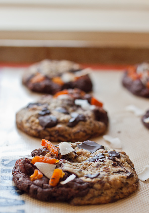 Tropical Chocolate Chunk Cookies. One side chocolate chunk, the other tropical!