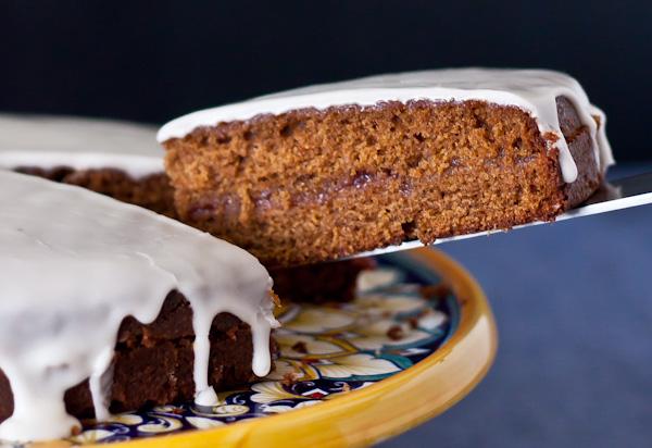 Gingerbread Tea Cake with Raspberry Jam and Lemon Glaze