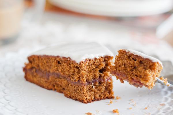 Gingerbread Tea Cake with Raspberry Jam & Lemon Glaze   bloggingoverthyme.com
