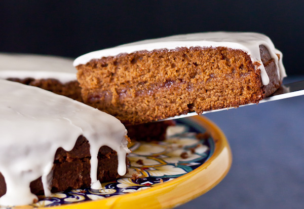 Gingerbread Tea Cake with Raspberry Jam & Lemon Glaze | bloggingoverthyme.com