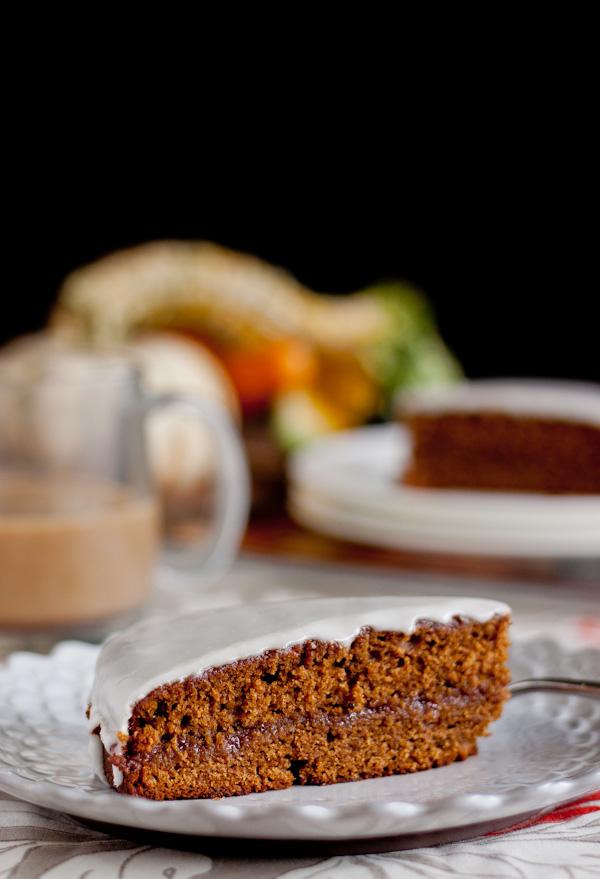 Gingerbread Tea Cake with Raspberry Jam & Lemon Glaze | bloggingoverthyme.com