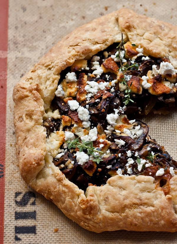 Mushroom Goat Cheese Galette | bloggingoverthyme.com