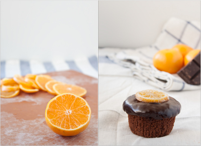 Chocolate Clementine Cupcakes with Candied Citrus Slices. A great portable dessert for the holiday season!