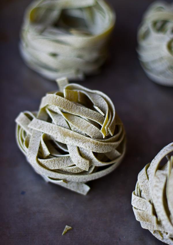 Spinach Fettuccine Bundles