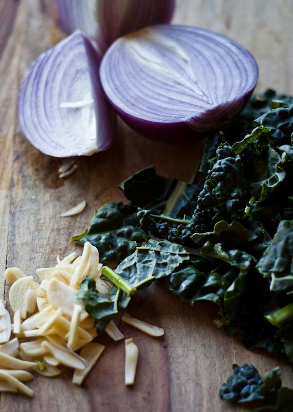 Lacinato Kale Onion and Garlic