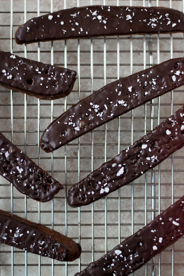 Double Chocolate Biscotti with Sea Salt | bloggingoverthyme.com