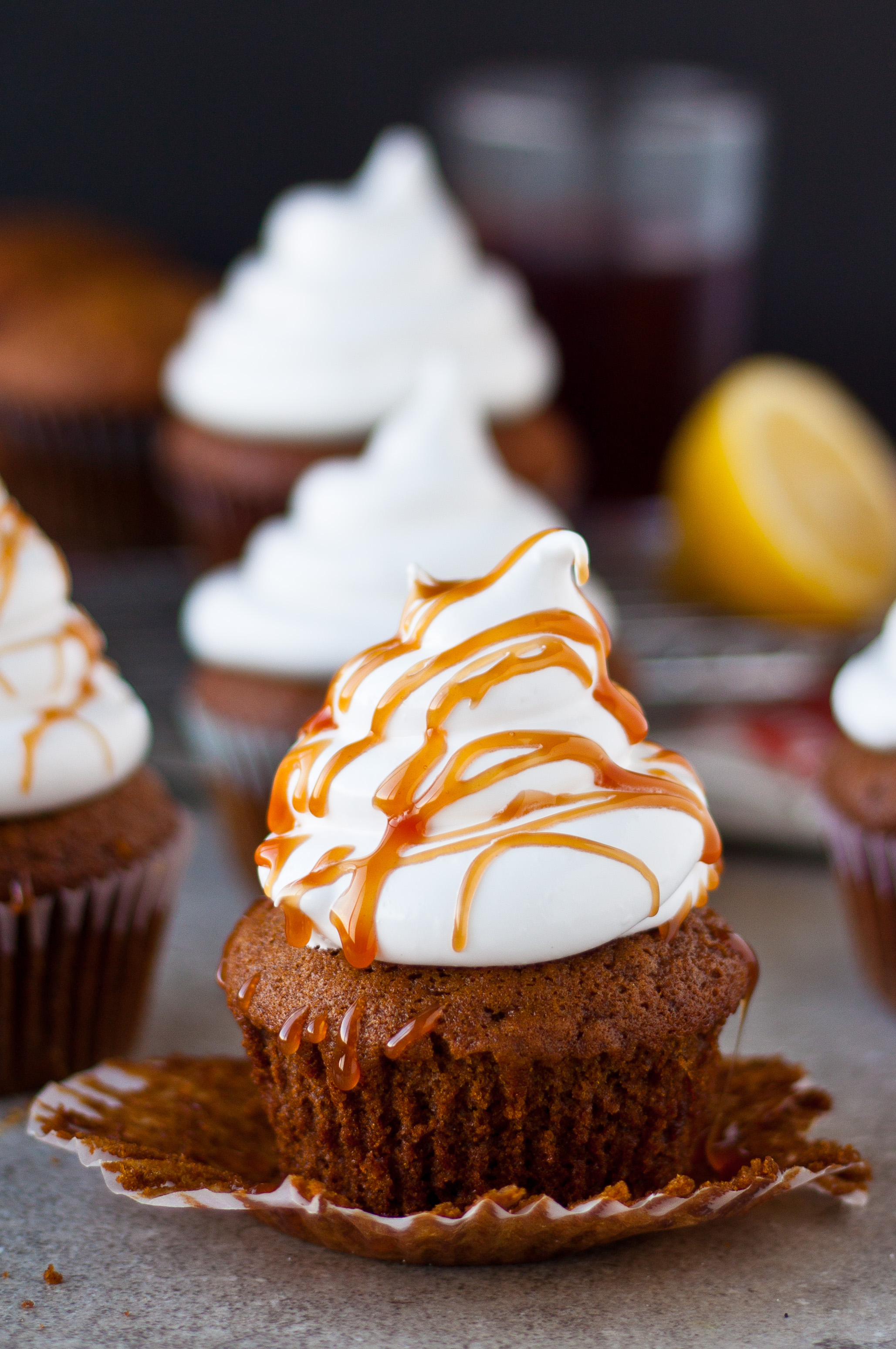 Gingerbread Cupcakes with Marshmallow Frosting and Pomegranate Caramel ...