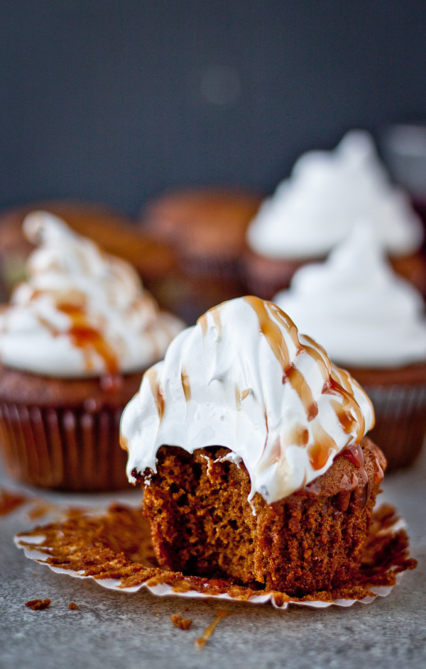 Gingerbread Cupcakes with Marshmallow Frosting and Pomegranate Caramel