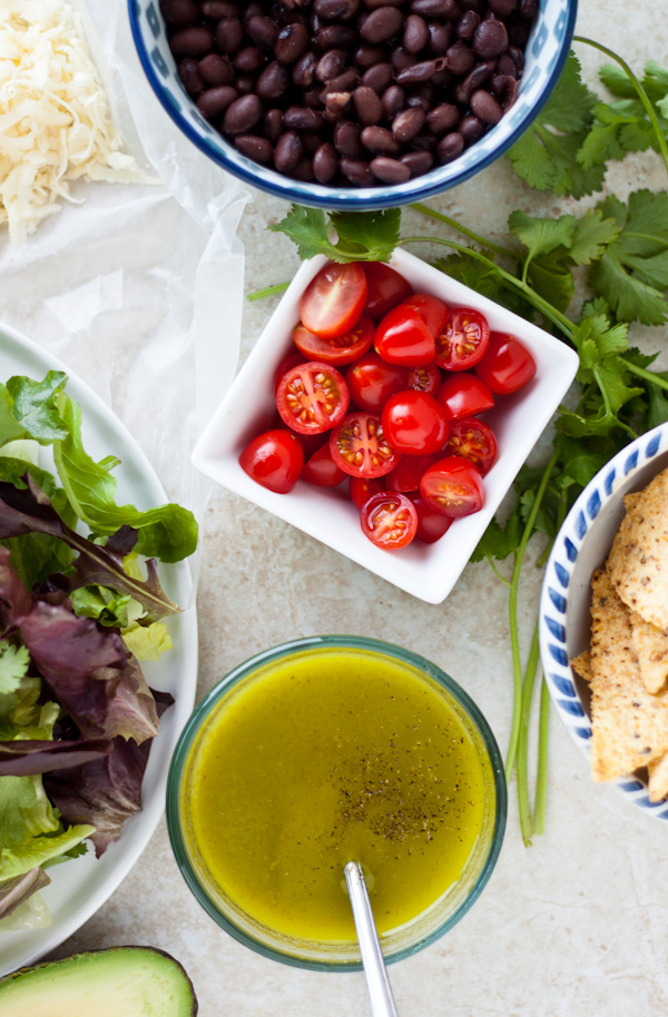 Tortilla-Crusted Chicken Salad with Cilantro Dressing   bloggingoverthyme.com