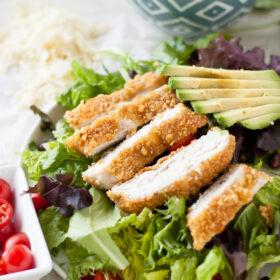 Tortilla-Crusted Chicken Salad with Cilantro Dressing | bloggingoverthyme.com
