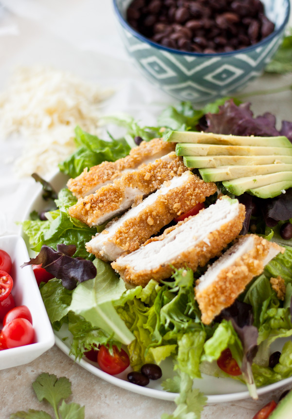 Tortilla-Crusted Chicken Salad with Cilantro Dressing | bloggingoverthyme.com