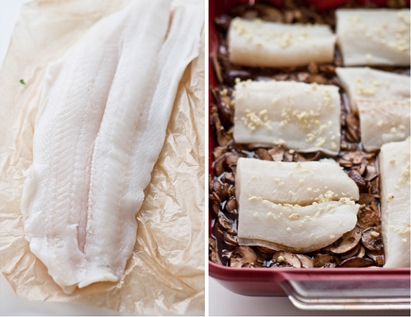 Turbot with Mushrooms, Ginger, and Soy Broth. An EASY and healthy weeknight dinner!