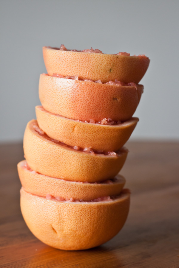 Grapefruit Curd Stuffed Doughnuts | bloggingoverthyme.com
