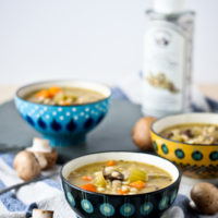 Mushroom Barley Soup with White Truffle Oil