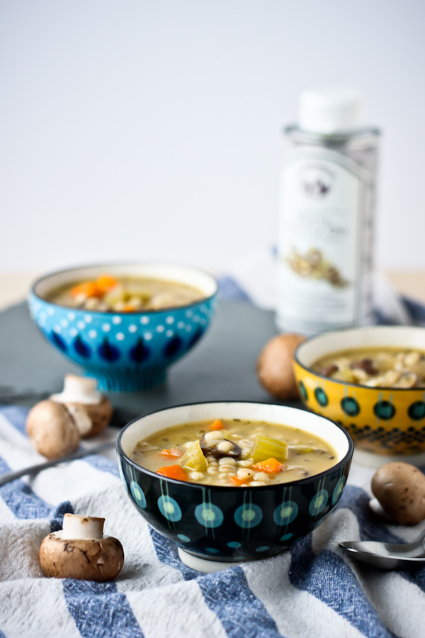Mushroom Barley Soup with Truffle Oil | bloggingoverthyme.com