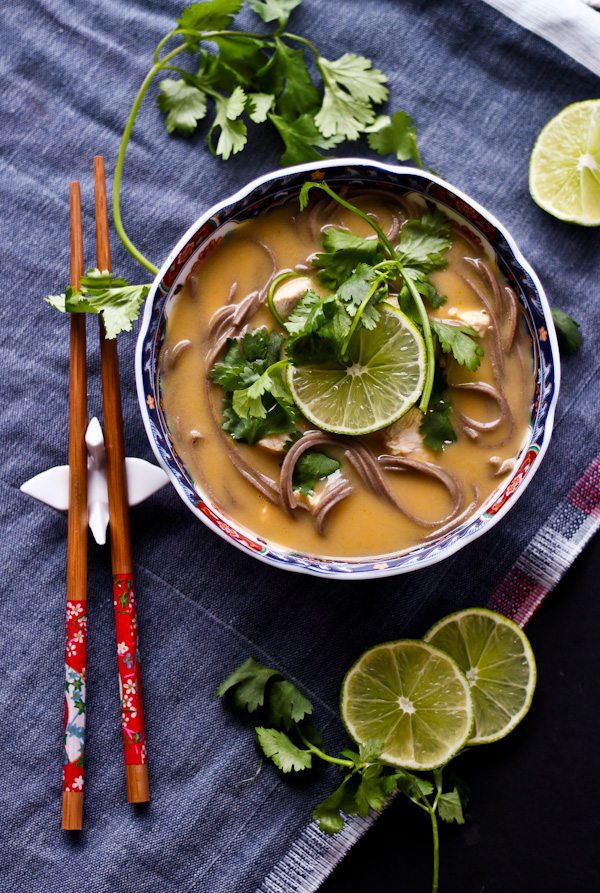 Thai Coconut Chicken Noodle Soup | bloggingoverthyme.com