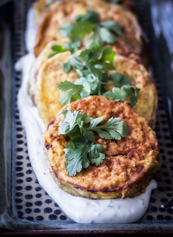 Eggplant with Roasted Garlic Yogurt Sauce | bloggingoverthyme.com