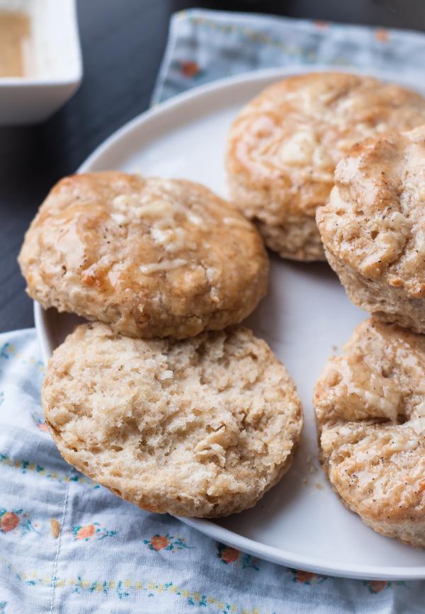 Cheddar Biscuits with Black Pepper Honey Glaze | bloggingoverthyme.com
