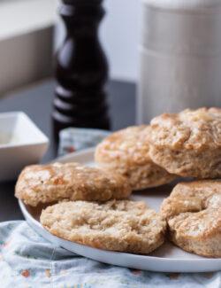 Cheddar Biscuits with Black Pepper Honey Glaze   bloggingoverthyme.com