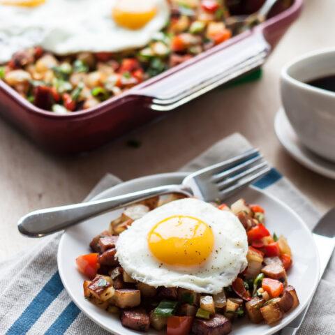 Potato Keilbasa Breakfast Hash| bloggingoverthyme.com