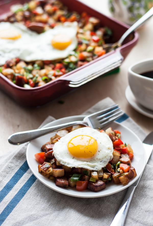 Potato Keilbasa Breakfast Hash| bloggingoverthyme.com