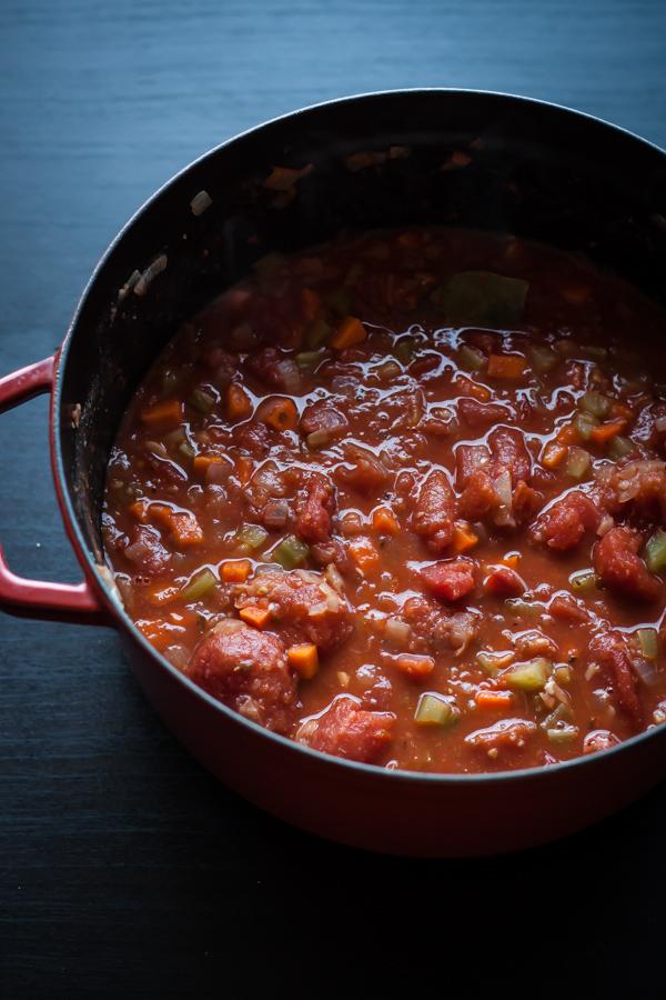 Spaghetti with Cannellini Bean Bolognese | bloggingoverthyme.com