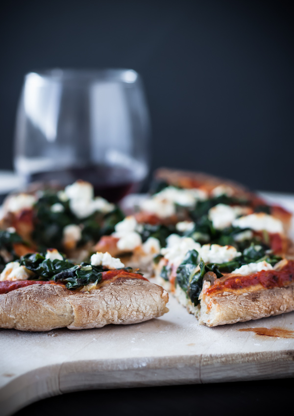 Spicy Harissa, Spinach & Feta Skillet Pizza | bloggingoverthyme.com