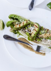 Burnt Romaine with Grilled Avocado, Tomatillos, and Cotija Cheese | bloggingoverthyme.com