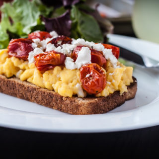 Bain Marie Scrambled Eggs with Roasted Tomatoes and Goat Cheese