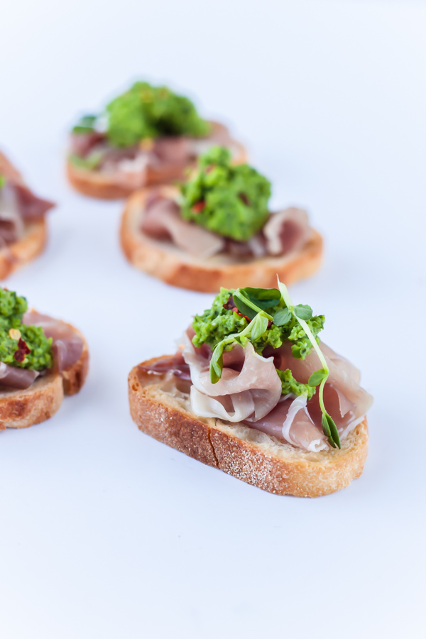 Crostini with Pea Pesto and Prosciutto - A Beautiful Plate