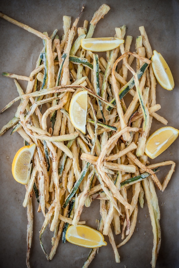 Shoestring Zucchini Fries | bloggingoverthyme.com