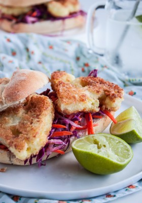 Cauliflower Steak Burger with Tangy Coleslaw